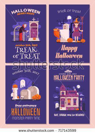Halloween Flyers Cards Set Halloween Party Stock Vector 717143599 ...
