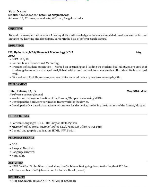 Resume Sample For Mba Finance Student. 100 fresher resume resume ...