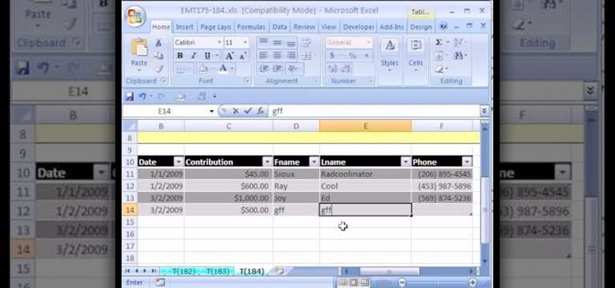 How to Create a simple database in Excel with a list or table ...