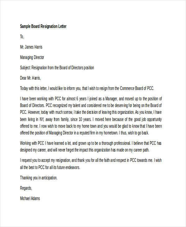 6+ Board Resignation Letters - Free Sample, Example Format ...