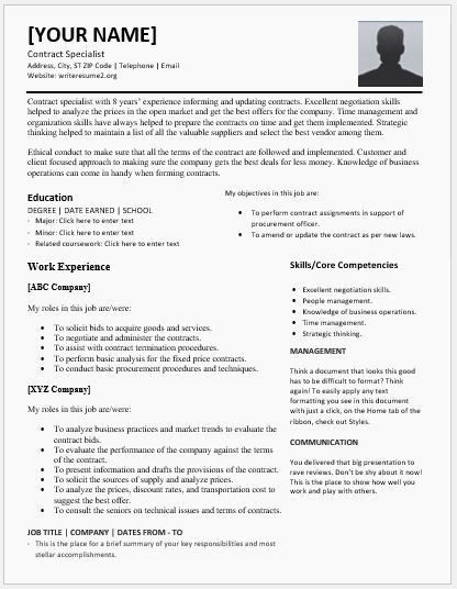 Contract Specialist Resumes for MS Word | Resume Templates