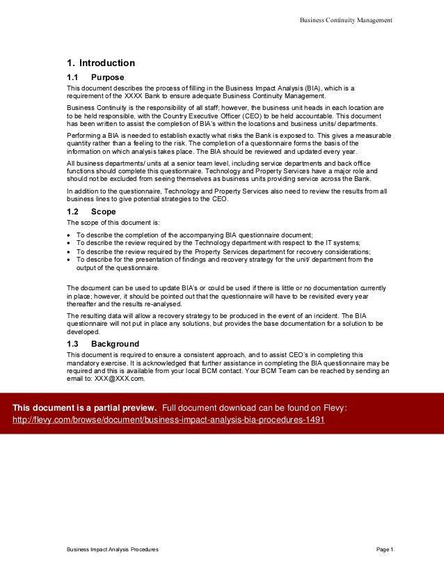 Business Impact Analysis (BIA) Procedures
