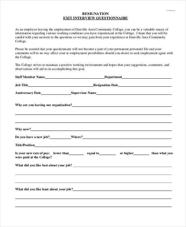 Job Interview Questionnaire Template - Osclues.com