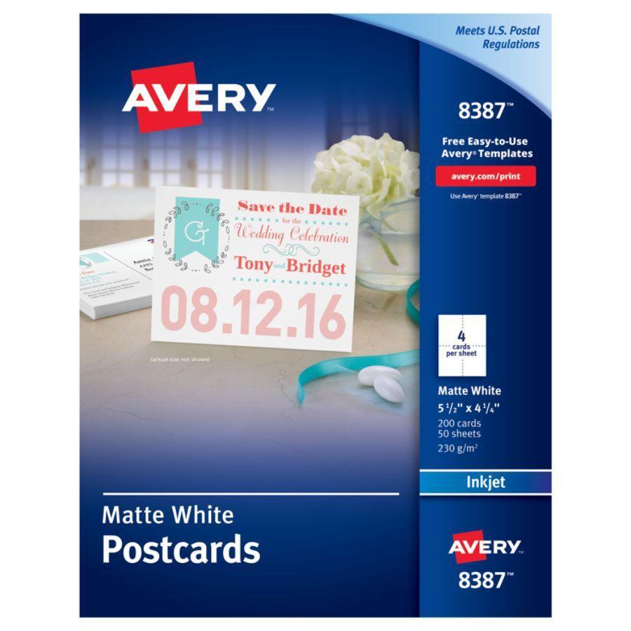 Avery Inkjet Postcards 4 14 x 5 12 Matte White Box of 200 by ...