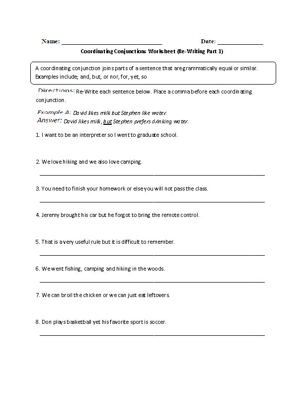Conjunctions Worksheets | Coordinating Conjunctions Re-Writing ...