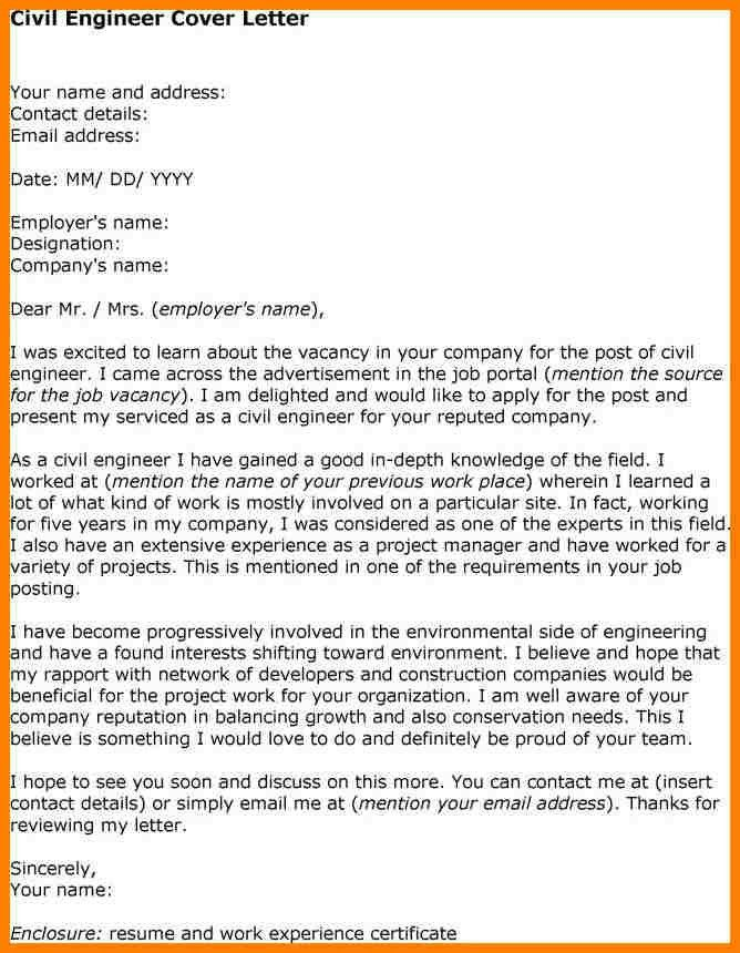 Cover letter job application civil engineer