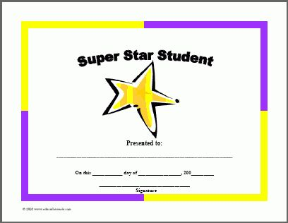 Certificates For Teachers: Award Certificates   Super Star Student