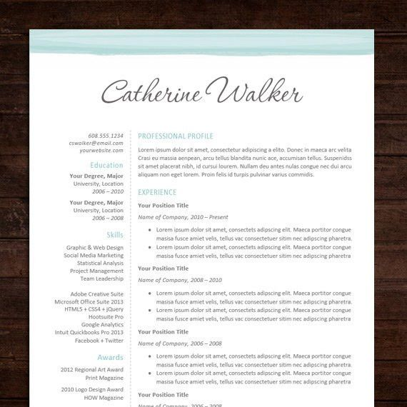 Beautiful Professional Resume Template Design & Cover Letter / MS ...