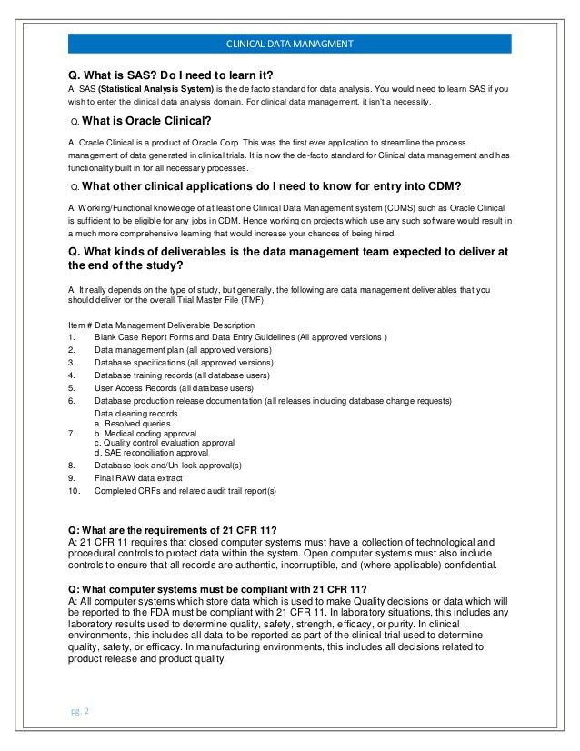 cliniindia: Clinical Data Management frequently asked questions for f…
