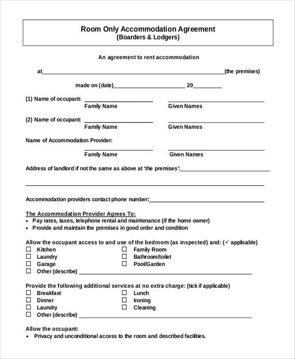Room Rental Agreement Template – 6+ Free Word, PDF Free Download ...