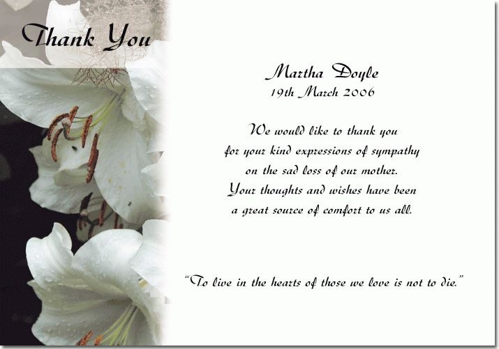 Thank You Card: Wedding Thank You Cards For Funerals Sympathy ...
