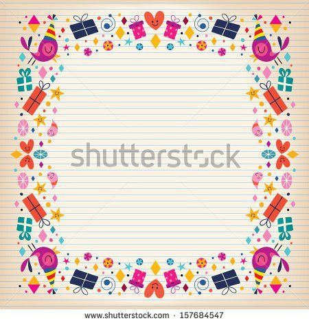 Happy Birthday Border Lined Paper Card Stock Vector 157684547 ...