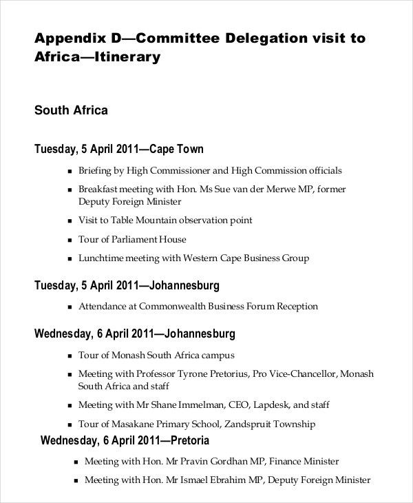 Itinerary Template – 20+ Free Word, PDF Documents Download | Free ...