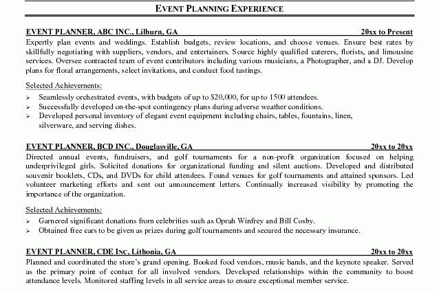 event planner resume event planner jesse kendall - Writing Resume ...