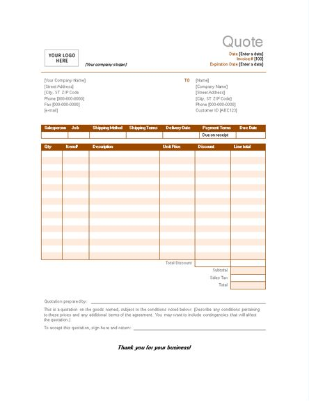 Sample Sales Quotation | Invoices | Ready-Made Office Templates