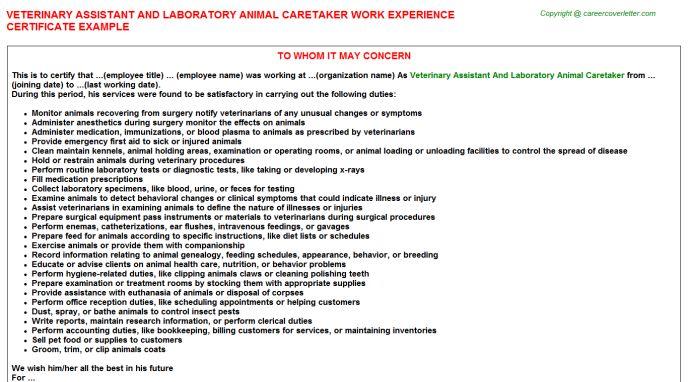 Nonfarm Animal Caretaker Work Experience Letters