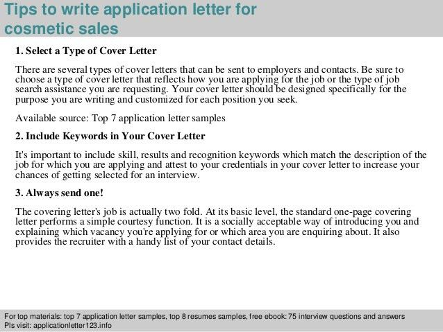 Cosmetic sales application letter