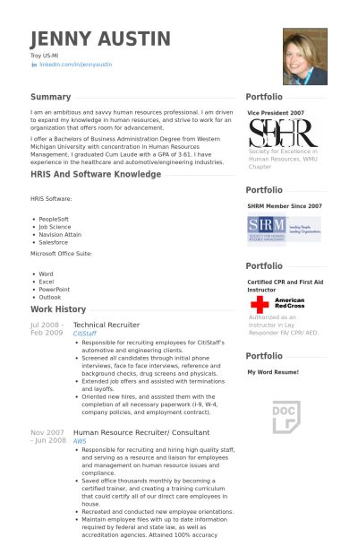 Technical Recruiter Resume samples - VisualCV resume samples database
