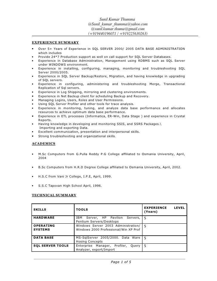 sql dba resume sample resume cv cover letter. sql server dba ...