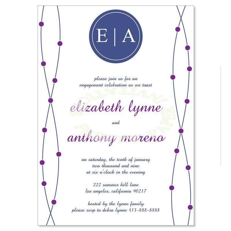 Blue & Purple Engagement Party Invitation Templates - Anne Raisin ...