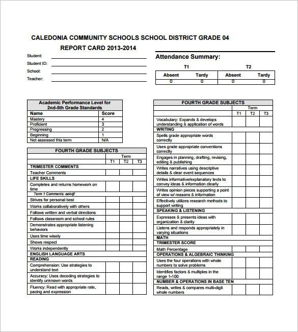 Progress Report Card Template – 12+Free Printable Word, PDF, PSD ...