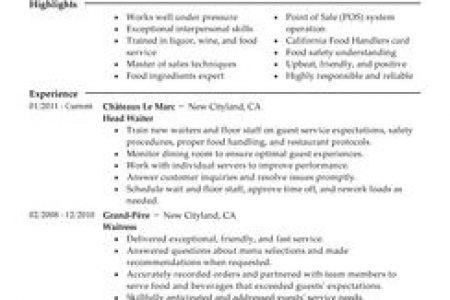 Fine Dining Server Resume Sample, Sample Waitress Resume Sample ...