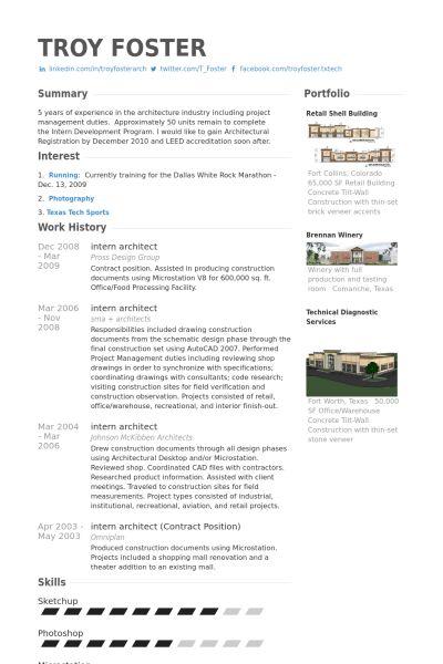 Intern Architect Resume samples - VisualCV resume samples database