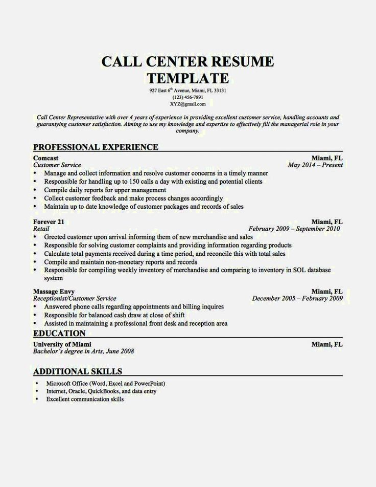 resume for a call center job call center resume