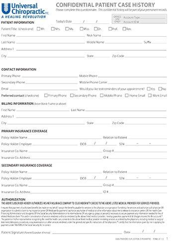 New Patient Form - Dr. Z Universal Chiropractic