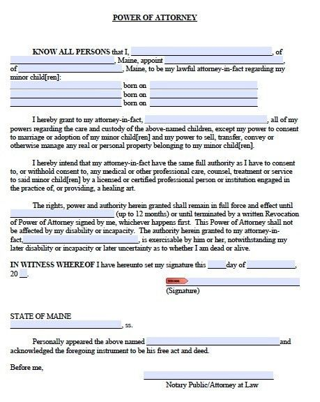 Free Minor Child Power of Attorney Maine Form – PDF Template