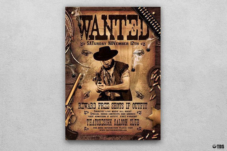 Wanted Western Party Flyer Template by | Design Bundles