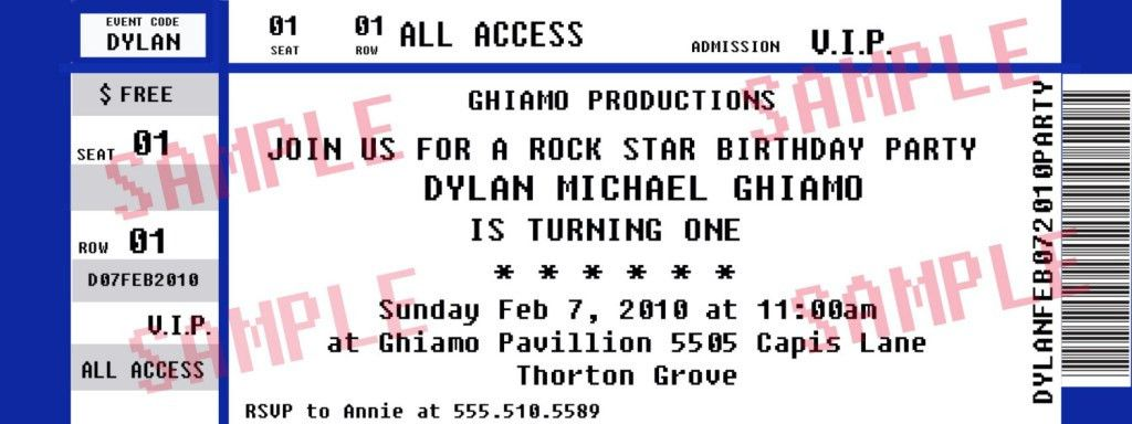 Stunning VIP Birthday Concert Ticket Template Sample with Unique ...