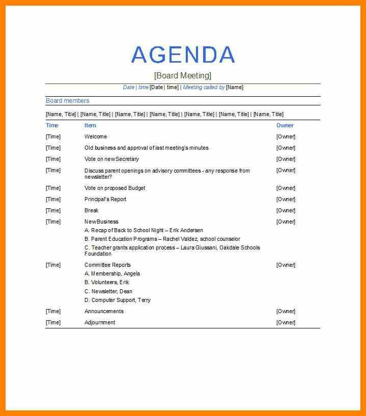 Business Meeting Agenda. Example Church Business Meeting Agenda 10 ...