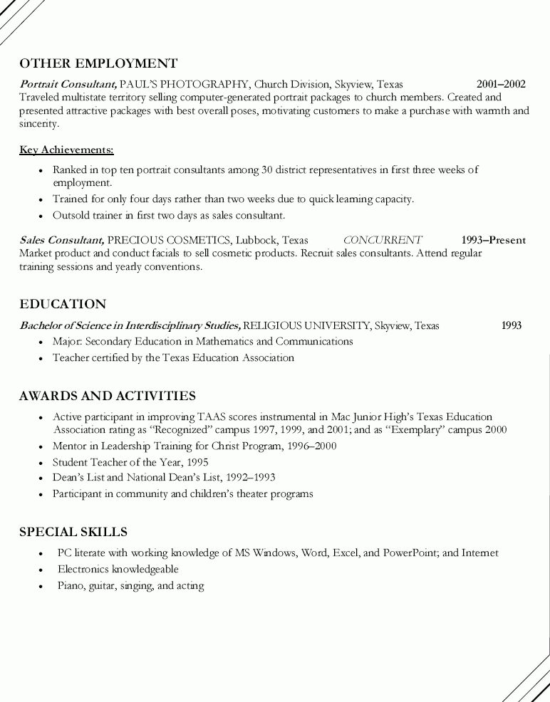 Math Teacher Cheerleading Sponsor Resume - Math Teacher ...
