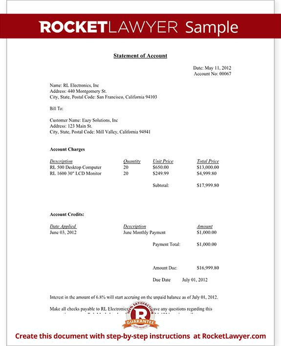 Statement of Account - Free Statement of Account Letter Template ...