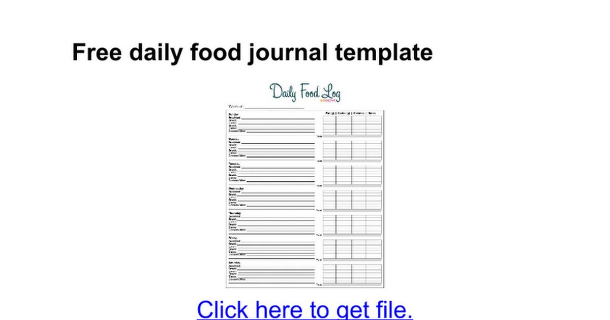 Free daily food journal template - Google Docs