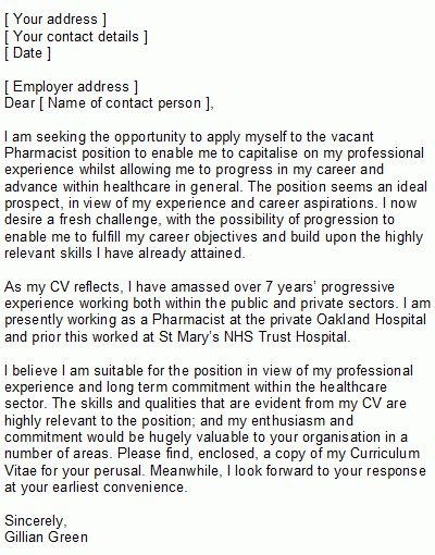 Sample Pharmacist Covering Letter