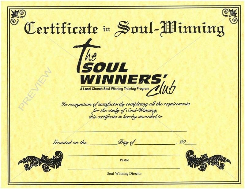 Soul-Winner's Club Certificate
