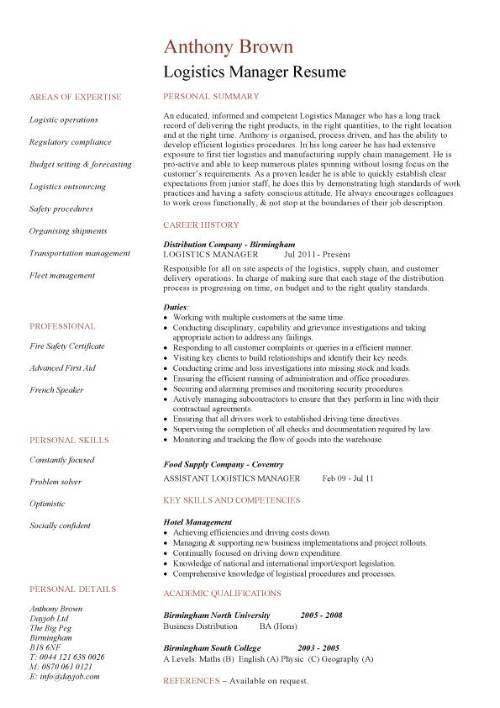 Logistics manager CV template, example, job description, supply ...