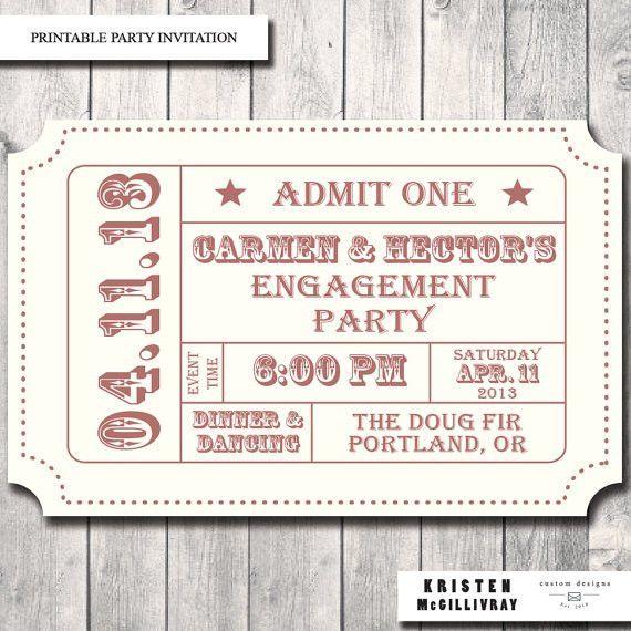 Engagement Party Ticket Invitation- DIY Digital File Printable ...
