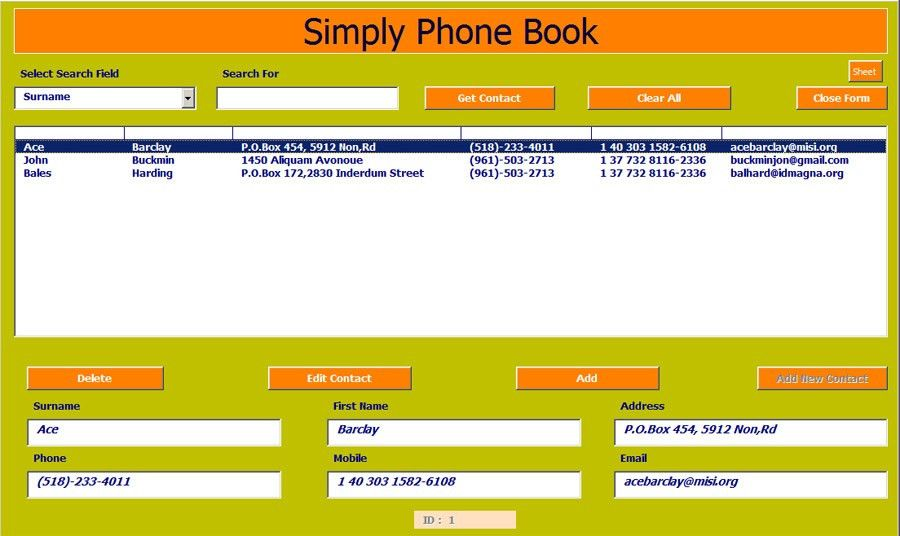 Excel Phone Book and Contact Manager | Net Merkez.Advanced Ms ...