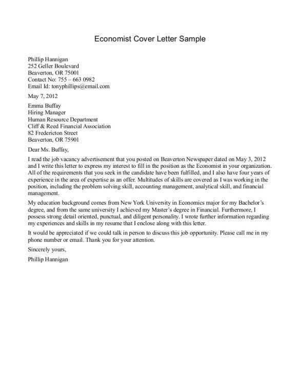 Effective Economist Cover Letter For Customer Service Internship ...