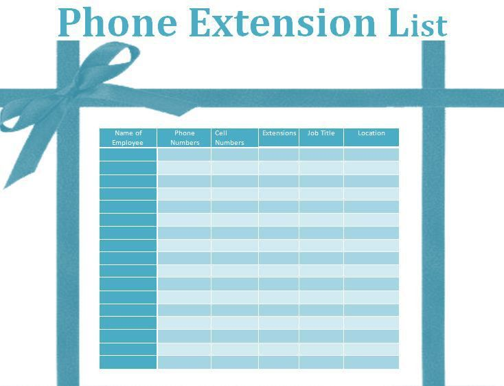 Phone Extension List Template | Formsword: Word Templates & Sample ...