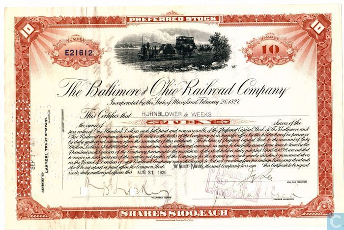 The Baltimore and Ohio Railroad Company, Certificate 10 shares ...