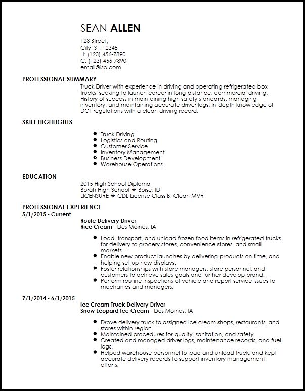 Free Creative Truck Driver Resume Templates | ResumeNow