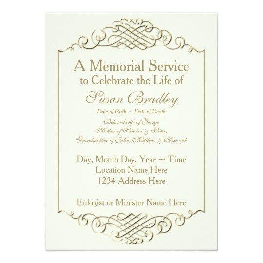 Elegant Golden Vintage Frame w 2 Memorial Service Card | Vintage