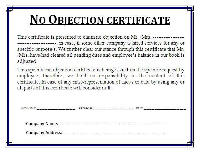 No objection certificate for job no objection certificate no objection certificate template certificate templates spiritdancerdesigns Image collections