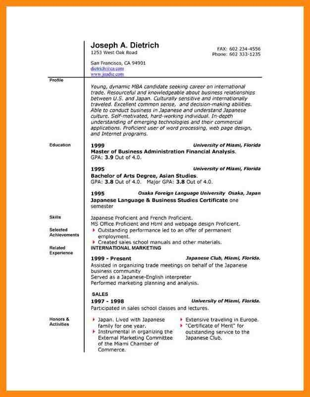 resume format in ms word free download simple resume format in ...