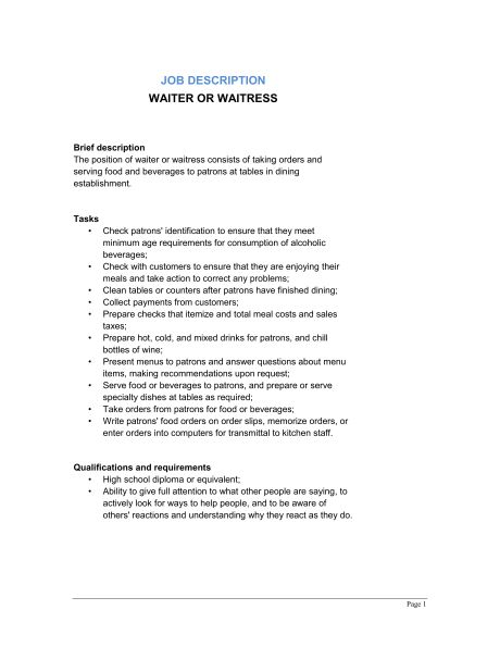 Waiter and Waitress Job Description - Template & Sample Form ...