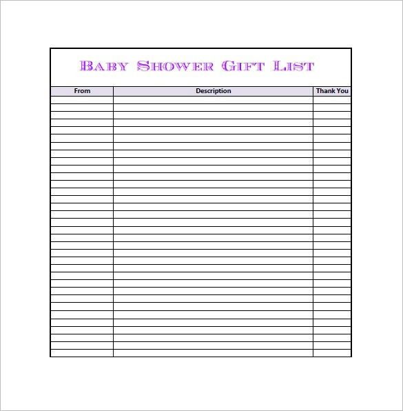 Baby Shower Gift List Template – 8+ Free Word, Excel, PDF Format ...
